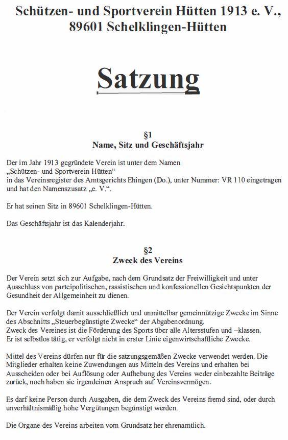 Die Satzung des SSV Hütten zum Download